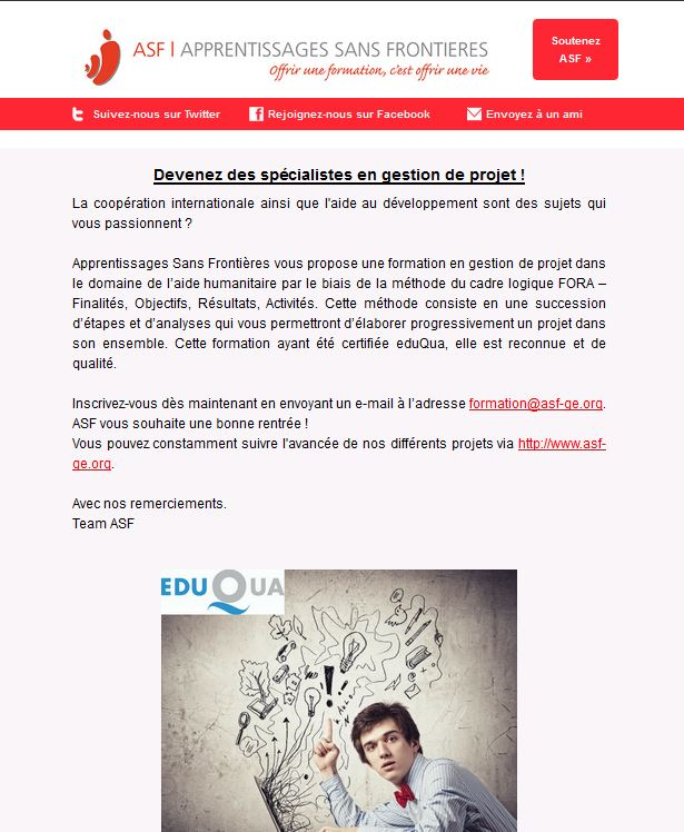 Newsletter du mois de septembre 2016